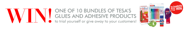 WIN! One of 10 bundles of tesa's glues and adhesive products to trial yourself or give away to your customers!